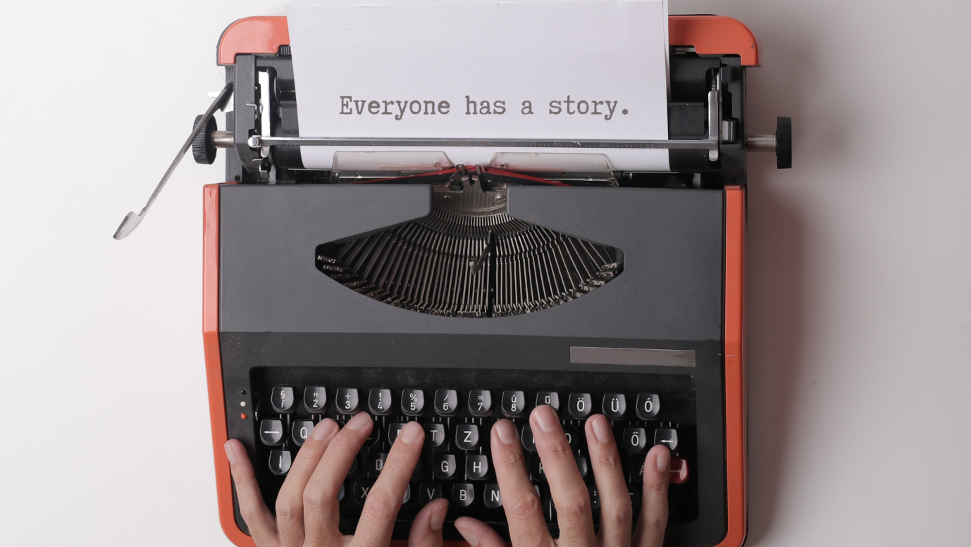 One of the images in the article depicting typing on a typewriter